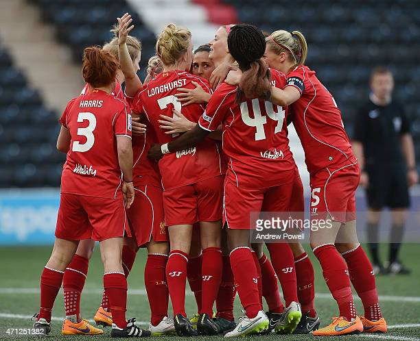 Line Smorsgard of Liverpool celebrates after scoring during the Women's Super League match between Liverpool Ladies and Manchester City Women at...