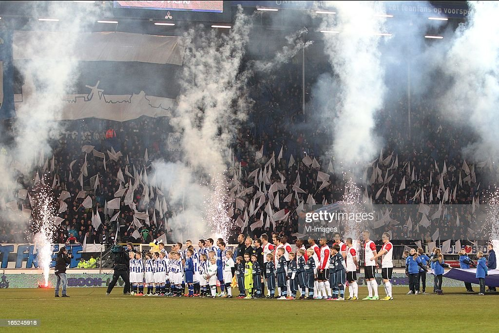 Line up during the Dutch Eredivisie match between SC Heerenveen and Feyenoord at the Abe Lenstra Stadium on march 30, 2013 in Heerenveen, The Netherlands