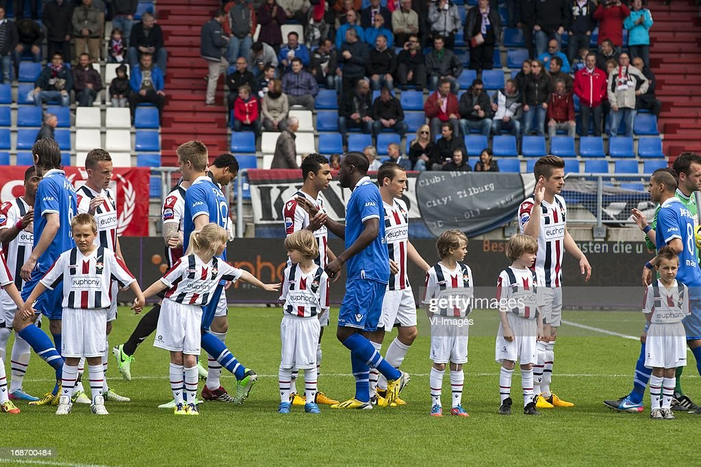 line up during the Dutch Eredivisie match between Willem II and AZ Alkmaar on May 12, 2013 at the Koning Willem II stadium in Tilburg, The Netherlands.