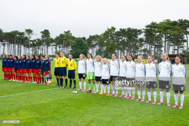 line up of Germany and Romania teams before the international friendly match between U17 Girl's Germany and U17 Girl's Romania on September 3 2014 in...