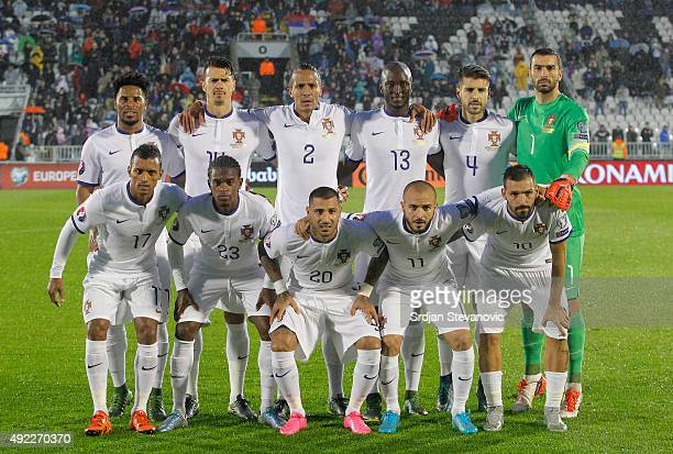 Line up of Portugal national football team prior the Euro 2016 qualifying football match between Serbia and Portugal at the Stadium FC Partizan in...