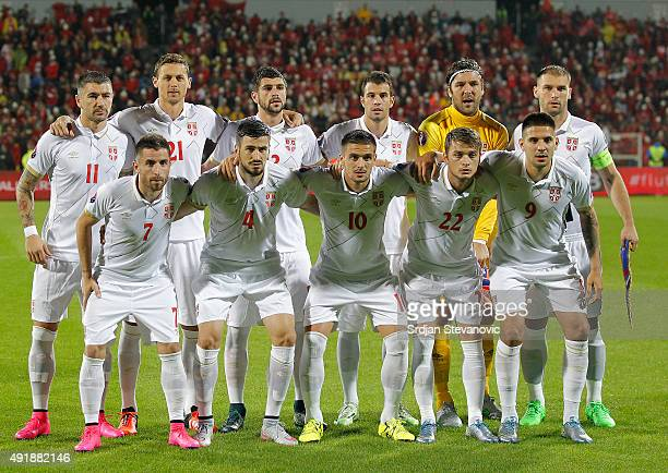 Line up of Serbia national team pose to the photographers from left Aleksandar Kolarov Nemanja Matic Stefan Mitrovic Luka Milivojevic goalkeeper...