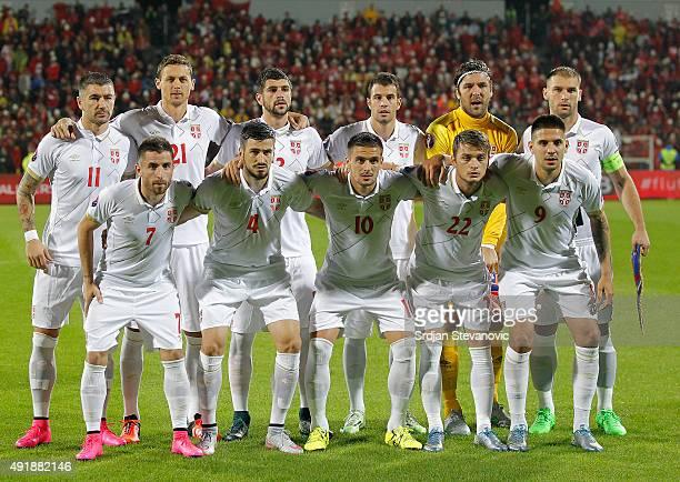 Line up of Serbia national team pose to the photographers from left Aleksandar Kolarov Nemanja Matic Stefan Mitrovic Luka Milivojevic goalkeeper...