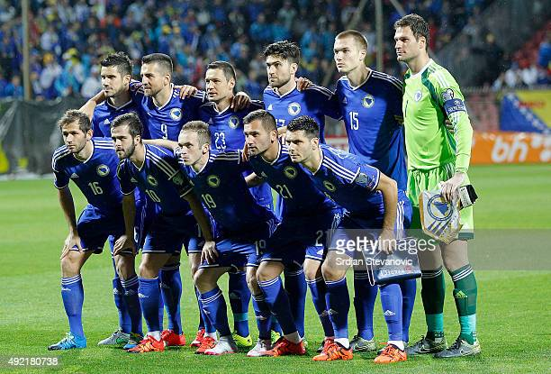 Line up of the Bosnia and Herzegovina national team prior the Euro 2016 qualifying football match between Bosnia and Herzegovina and Wales at the...