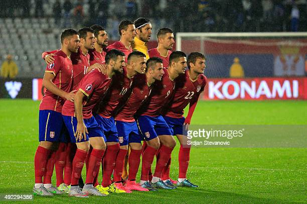 Line up of the Serbia national football team prior the Euro 2016 qualifying football match between Serbia and Portugal at the Stadium FC Partizan in...