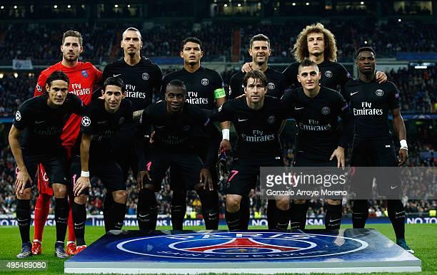 PSG line up prior to the UEFA Champions League Group A match between Real Madrid CF and Paris SaintGermain at Estadio Santiago Bernabeu on November 3...