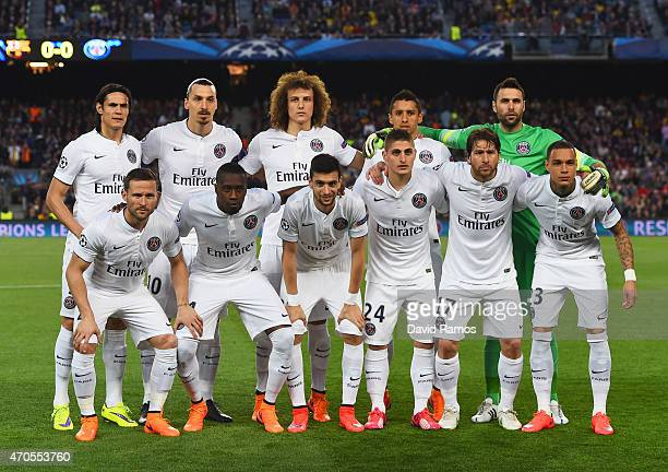 PSG line up prior to the UEFA Champions League Quarter Final second leg match between FC Barcelona and Paris SaintGermain at Camp Nou on April 21...