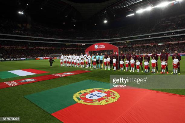 Line up teams before the FIFA World Cup Russia 2018 qualifier match Portugal vs Hungary at the Luz stadium in Lisbon Portugal on March 25 2017