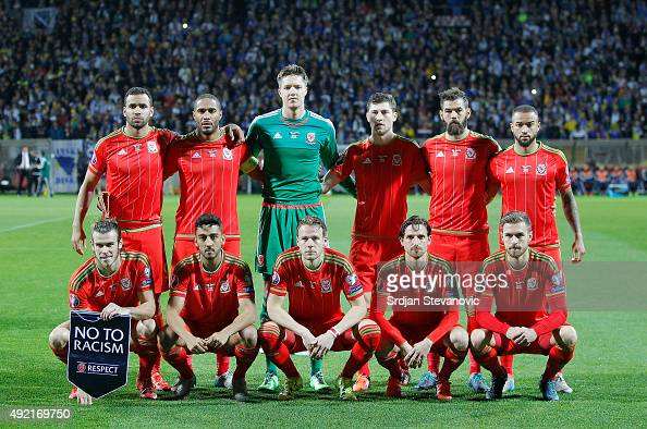Line up Wales national team prior the Euro 2016 qualifying football match between Bosnia and Herzegovina and Wales at the Stadium Bilino Polje in...