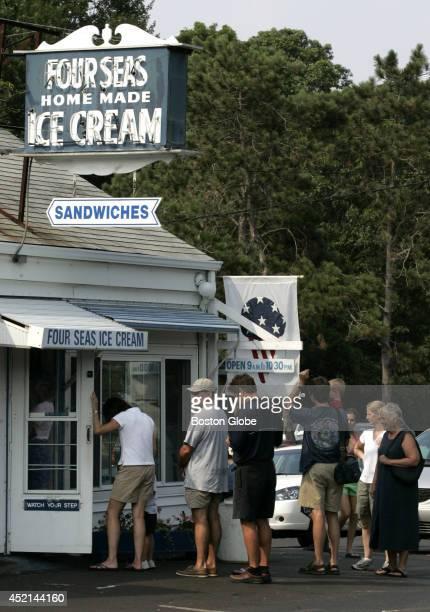 A line waits out the door for ice cream at Four Seas Ice Cream