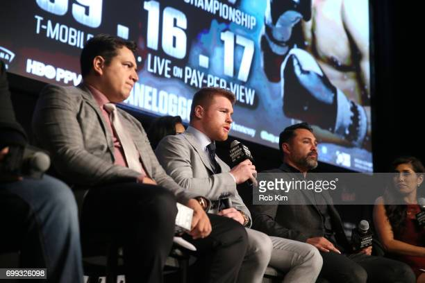 Lineal and RING Magazine Middleweight World Champion Saul Canelo Alvarez speaks about his upcoming fight against Gennady 'GGG' Golovkin during the...