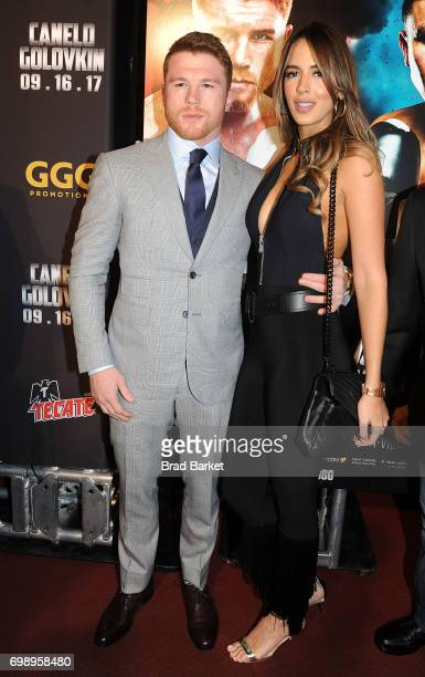 Lineal RING Magazine Middleweight World Champ Canelo Alvarez attends the Canelo Alvarez and Gennady Golovkin Press Tour at The Theater at Madison...