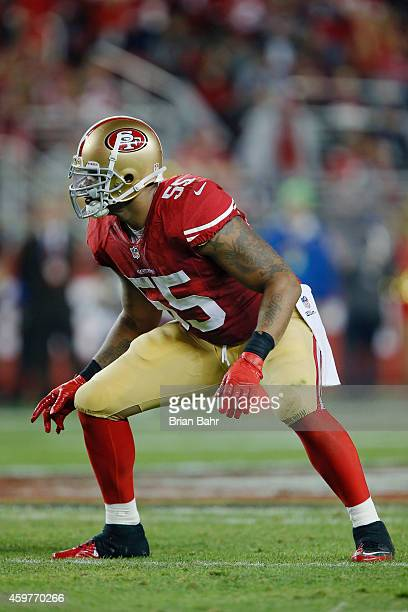 Linebacker Ahmad Brooks of the San Francisco 49ers defends against the Seattle Seahawks in the second quarter on November 27 2014 at Levi's Stadium...