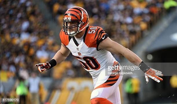 Linebacker AJ Hawk of the Cincinnati Bengals pursues the play during a game against the Pittsburgh Steelers at Heinz Field on November 1 2015 in...