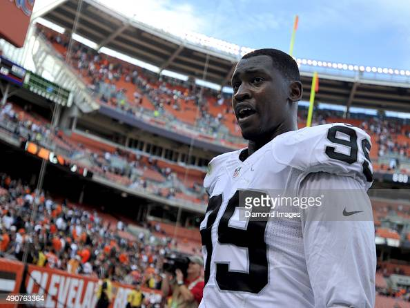 Linebacker Aldon Smith of the Oakland Raiders walks off the field after a game against the Cleveland Browns on September 27 2015 at FirstEnergy...
