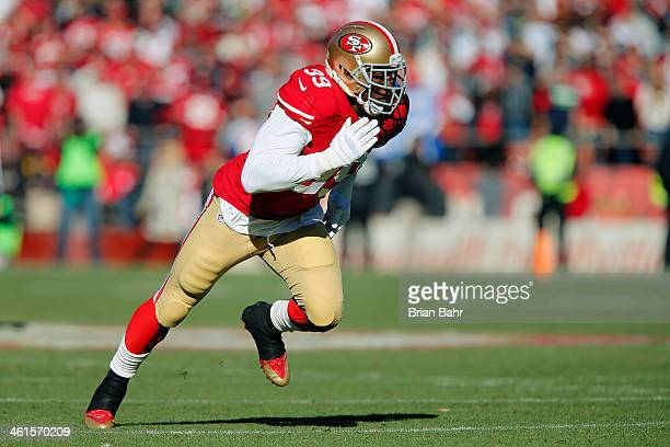 Linebacker Aldon Smith of the San Francisco 49ers rushes the Seattle Seahawks in the first quarter on December 8 2013 at Candlestick Park in San...