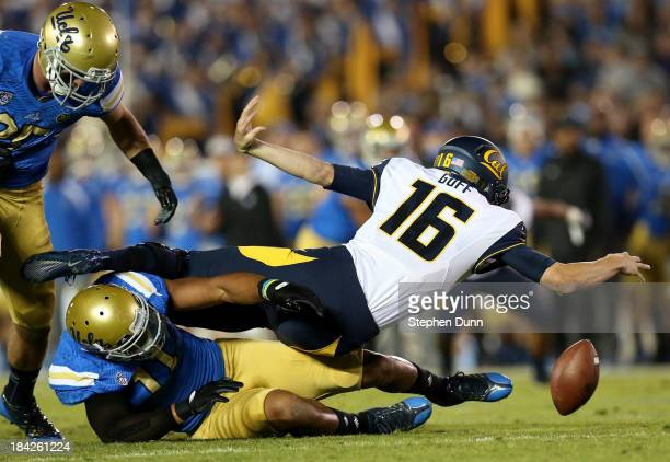 Linebacker Anthony Barr of the UCLA Bruins sacks quarterback Jared Goff of the California Golden Bears at the Rose Bowl on October 12 2013 in...
