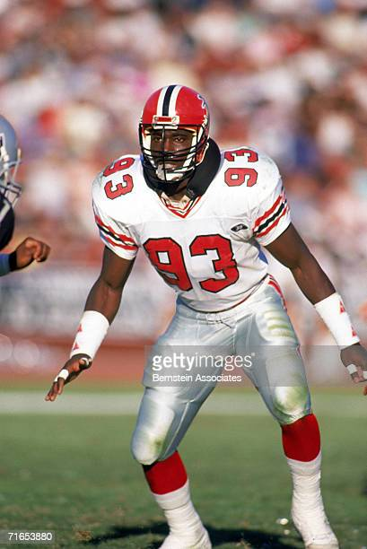 Linebacker Aundray Bruce of the Atlanta Falcons readies for the play against the Los Angeles Raiders in the Los Angeles Memorial Coliseum on October...