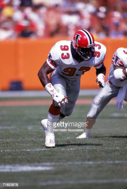 Linebacker Aundray Bruce of the Atlanta Falcons runs the play during a season game in October of 1989