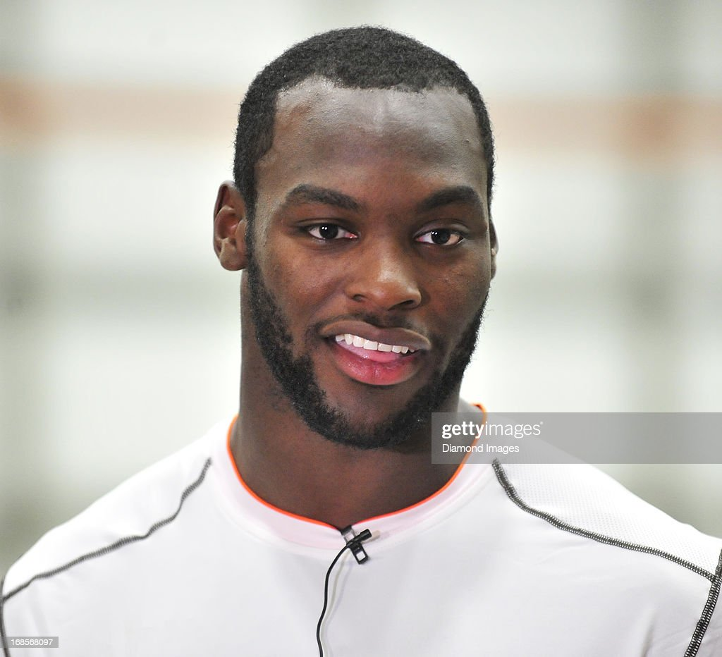 Linebacker Barkevious Mingo of the Cleveland Browns answers questions from the media after a rookie minicamp practice on May 10 2013 at the Cleveland...