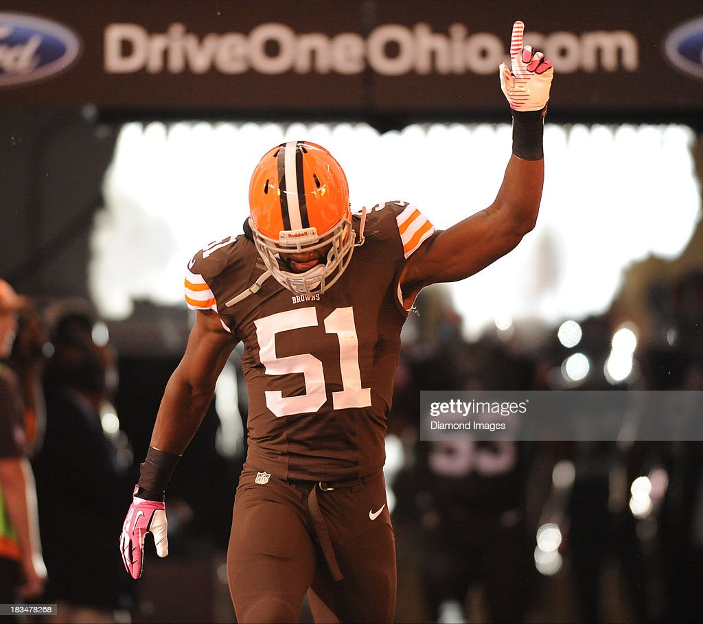 Linebacker Barkevious Mingo of the Cleveland Browns is introduced before a game against the Buffalo BIlls at FirstEnergy Stadium in Cleveland Ohio...