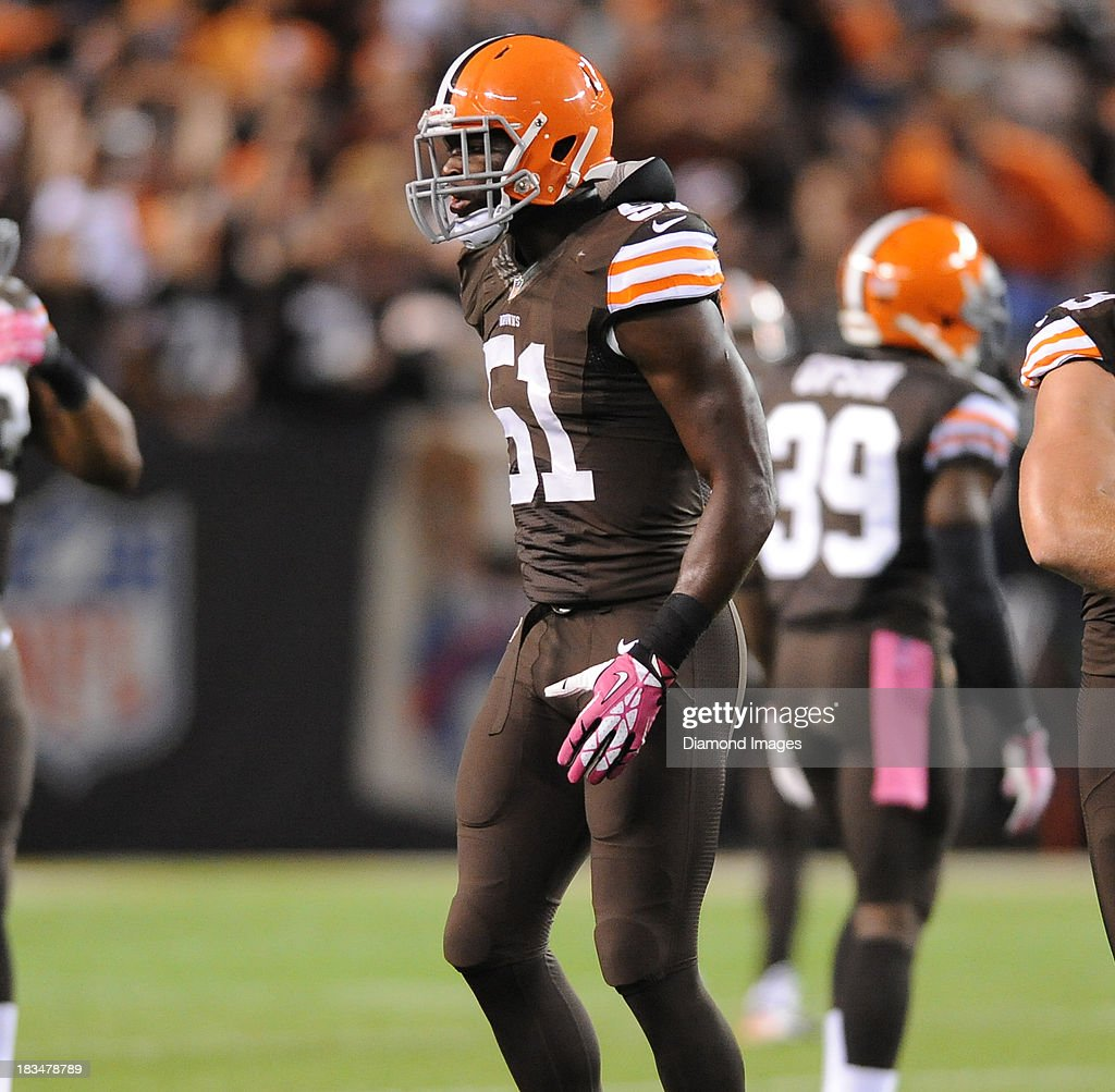 Linebacker Barkevious Mingo of the Cleveland Browns jogs off the field after a tackle during a game against the Buffalo Bills at FirstEnergy Stadium...