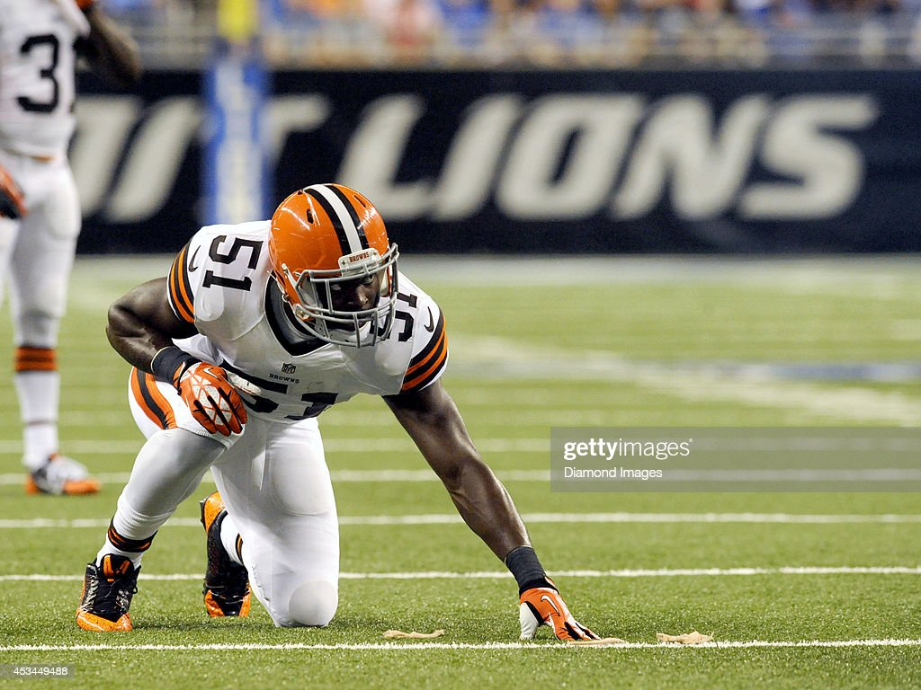 Linebacker Barkevious Mingo of the Cleveland Browns lines up at the line of scrimmage during a preseason game against the Detroit Lions on August 9...