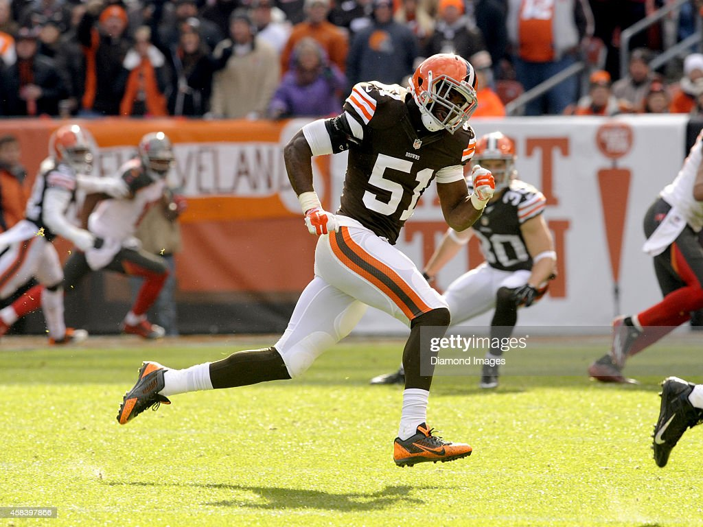 Linebacker Barkevious Mingo of the Cleveland Browns pursues the quarterback during a game against the Tampa Bay Buccaneers on November 2 2014 at...
