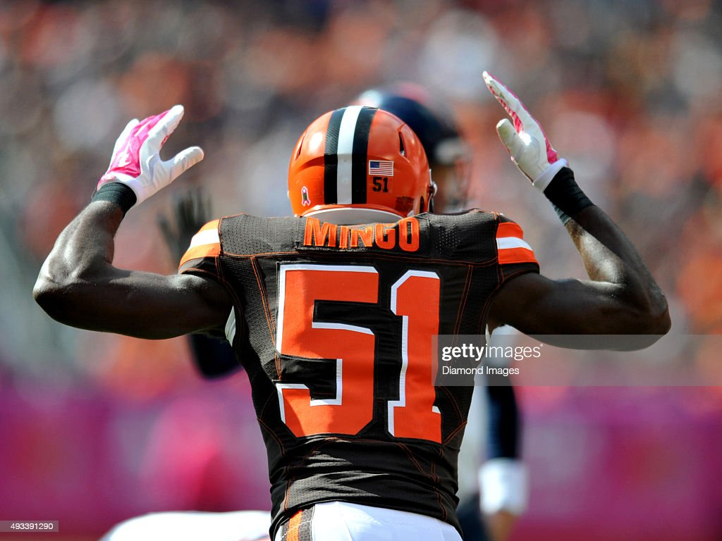 Linebacker Barkevious Mingo of the Cleveland Browns signals for a call during a game against the Denver Broncos on October 18 2015 at FirstEnergy...