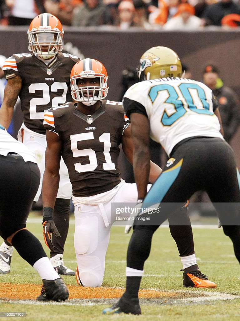 Linebacker Barkevious Mingo of the Cleveland Browns waits for the snap during a game against the Jacksonville Jaguars on December 1 2013 at...