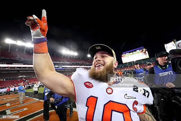 Linebacker Ben Boulware of the Clemson Tigers celebrates after defeating the Alabama Crimson Tide 3531 to win the 2017 College Football Playoff...