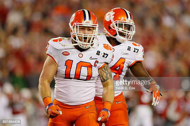 Linebacker Ben Boulware of the Clemson Tigers reacts during the first half against the Alabama Crimson Tide in the 2017 College Football Playoff...