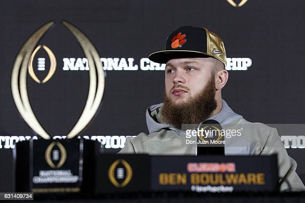 Linebacker Ben Boulware of the Clemson Tigers the defensive player of the game answer questions from the media during the College Football Playoff...