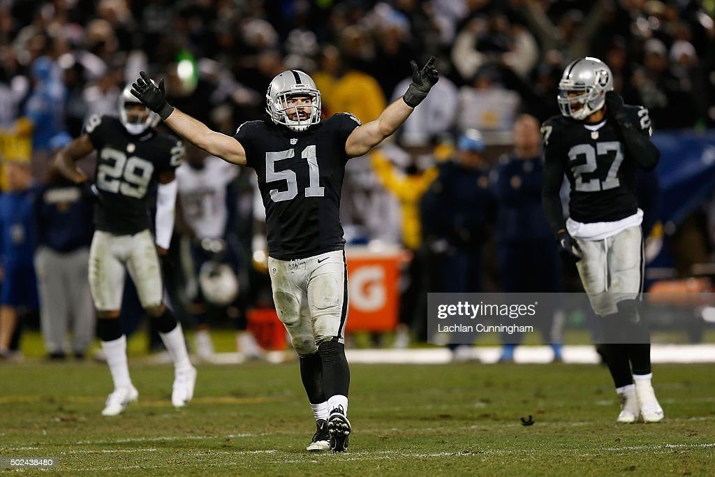 Linebacker Ben Heaney #51 of the Oakland Raiders celebrates after a win in overtime against the San Diego Chargers at O.co Coliseum on December 24, 2015 in Oakland, California.