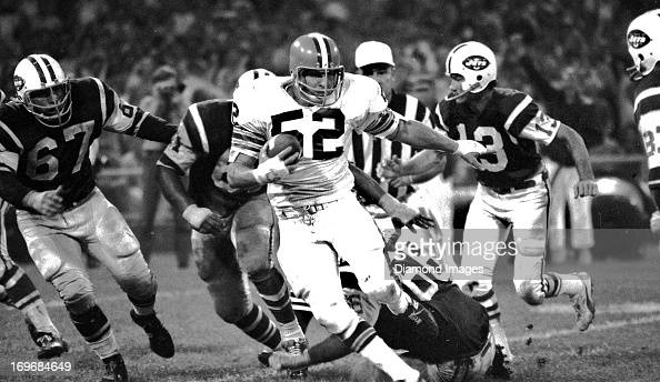 Linebacker Billy Andrews of the Cleveland Browns returns an interception for a touchdown during the first NFL Monday Night Football game against the...