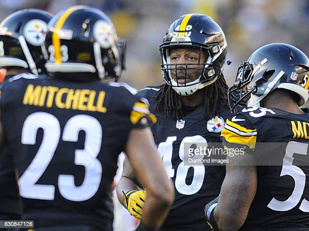 Linebacker Bud Dupree of the Pittsburgh Steelers stands in the huddle during a game against the Cleveland Browns on January 1 2017 at Heinz Field in...