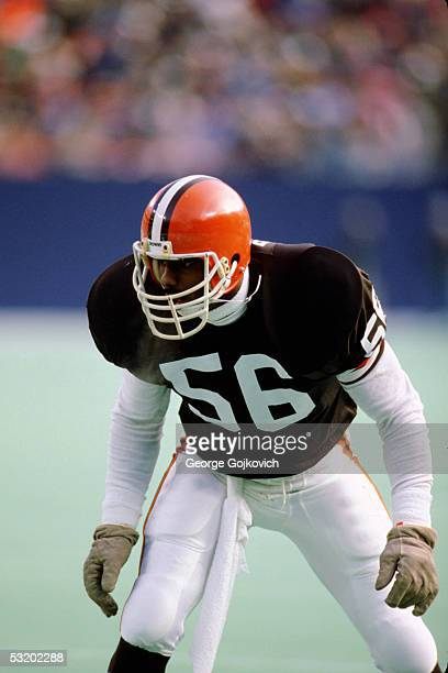 Linebacker Chip Banks of the Cleveland Browns faces the New York Jets at Giants Stadium on December 22 1985 in East Rutherford New Jersey The Jets...