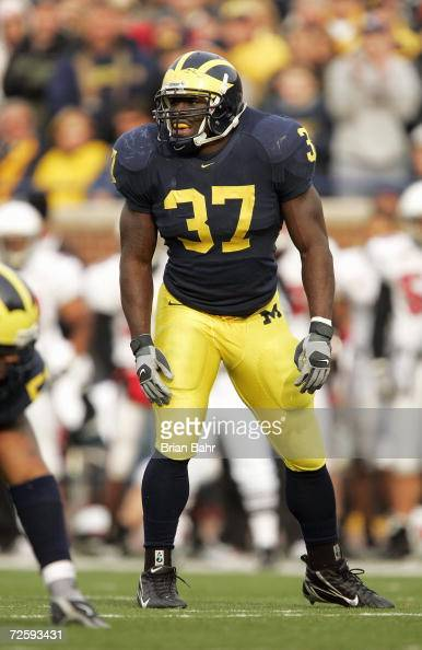 Linebacker Chris Graham of the Michigan Wolverines during the NCAA game against the Ball State Cardinals on November 4 2006 at Michigan Stadium in...