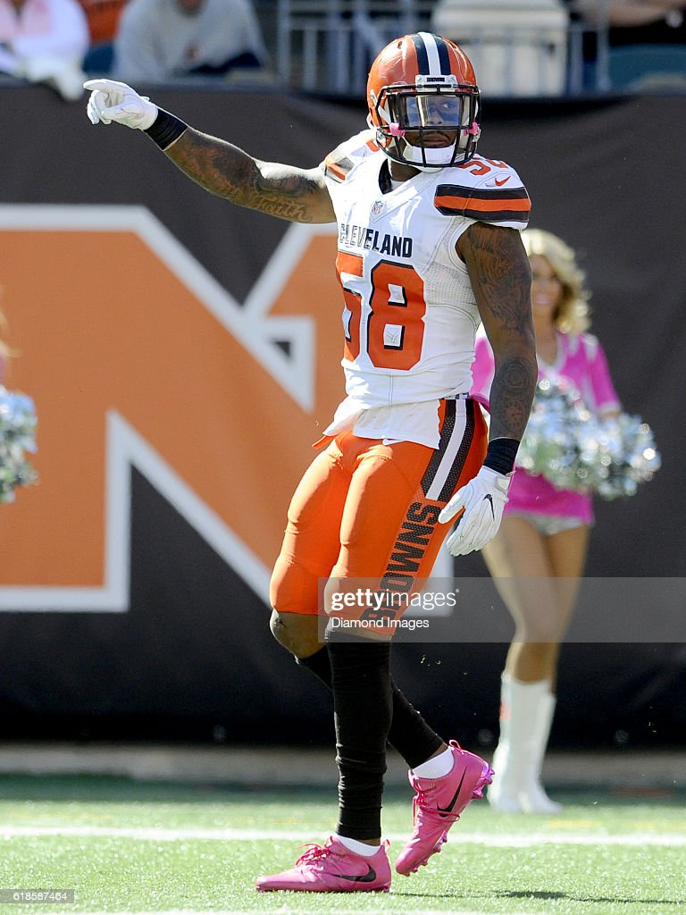 71f1a6e8d Linebacker Christian Kirksey 58 of the Cleveland Browns celebrates a tackle  for loss .