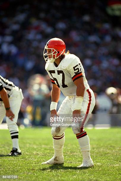 Linebacker Clay Matthews of the Cleveland Browns looks on from the field during a game at Municipal Stadium circa 1985 in Cleveland Ohio