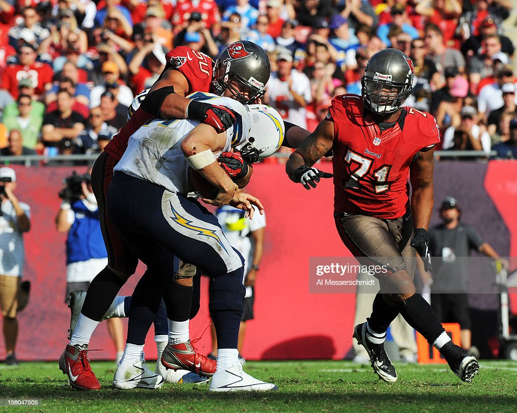 Linebacker Daniel Te'o-Nesheim #50 of the Tampa Bay Buccaneers sacks quarterback <a gi-track='captionPersonalityLinkClicked' href=/galleries/search?phrase=Philip+Rivers&family=editorial&specificpeople=212885 ng-click='$event.stopPropagation()'>Philip Rivers</a> #17 of the San Diego Chargers November 11, 2012 at Raymond James Stadium in Tampa, Florida. Tampa won 34 - 24.