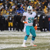 Linebacker Dannell Ellerbe of the Miami Dolphins looks on from the field during a game against the Pittsburgh Steelers at Heinz Field on December 8...