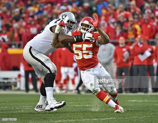 Linebacker Dee Ford of the Kansas City Chiefs rushes against offensive tackle J'Marcus Webb of the Oakland Raiders during the first half on January 3...