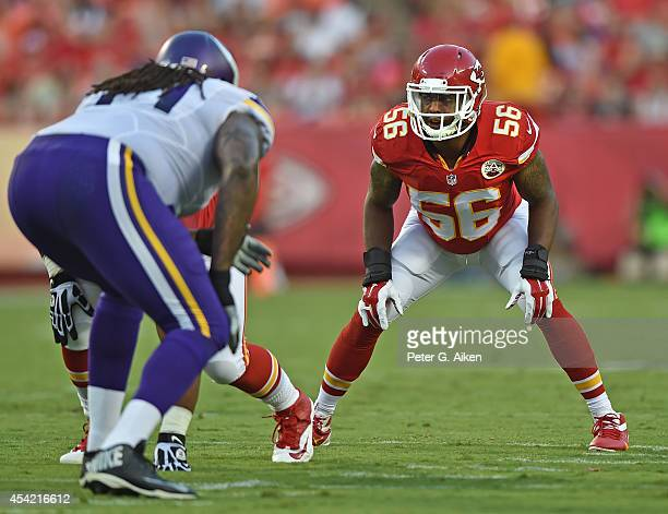 Linebacker Derrick Johnson of the Kansas City Chiefs gets set on defense against the Minnesota Vikings during the first half on August 23 2014 at...