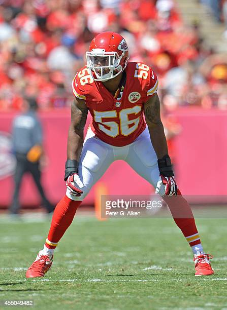Linebacker Derrick Johnson of the Kansas City Chiefs gets set on defense against the Tennessee Titans during the first half on September 7 2014 at...