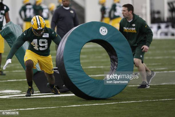 Linebacker Derrick Matthews works out during the Green Bay Packers rookie camp on May 5 2017 at the Don Hutson Center in Green Bay WI