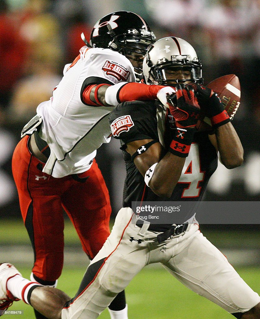 Linebacker Dexter Moody of the white team knocks down a pass intended for wide receiver Jheranie Boyd of the black team in the All America Under...