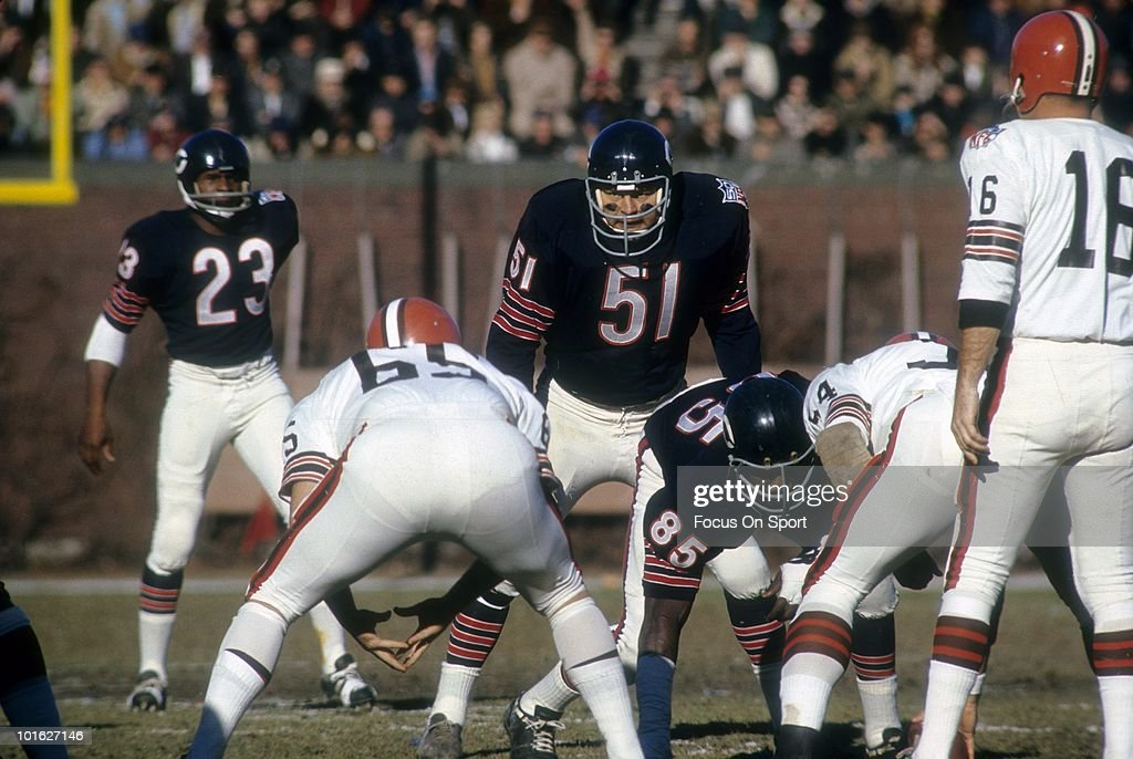 Linebacker <a gi-track='captionPersonalityLinkClicked' href=/galleries/search?phrase=Dick+Butkus&family=editorial&specificpeople=809708 ng-click='$event.stopPropagation()'>Dick Butkus</a> #51 of the Chicago Bears ready for action against the Cleveland Browns November 30, 1969 during an NFL football game at Wrigley Field in Chicago, Illinois. Butkus played for the Bears from 1965-73.