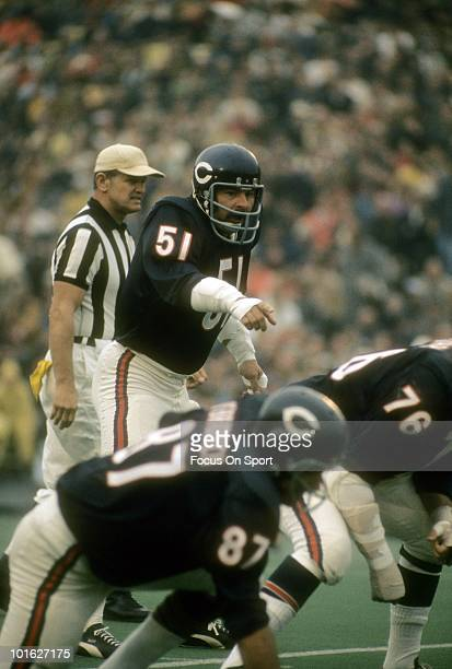 Linebacker Dick Butkus of the Chicago Bears ready for action against the Pittsburgh Steelers during an NFL football game September 19 1971 at Soldier...