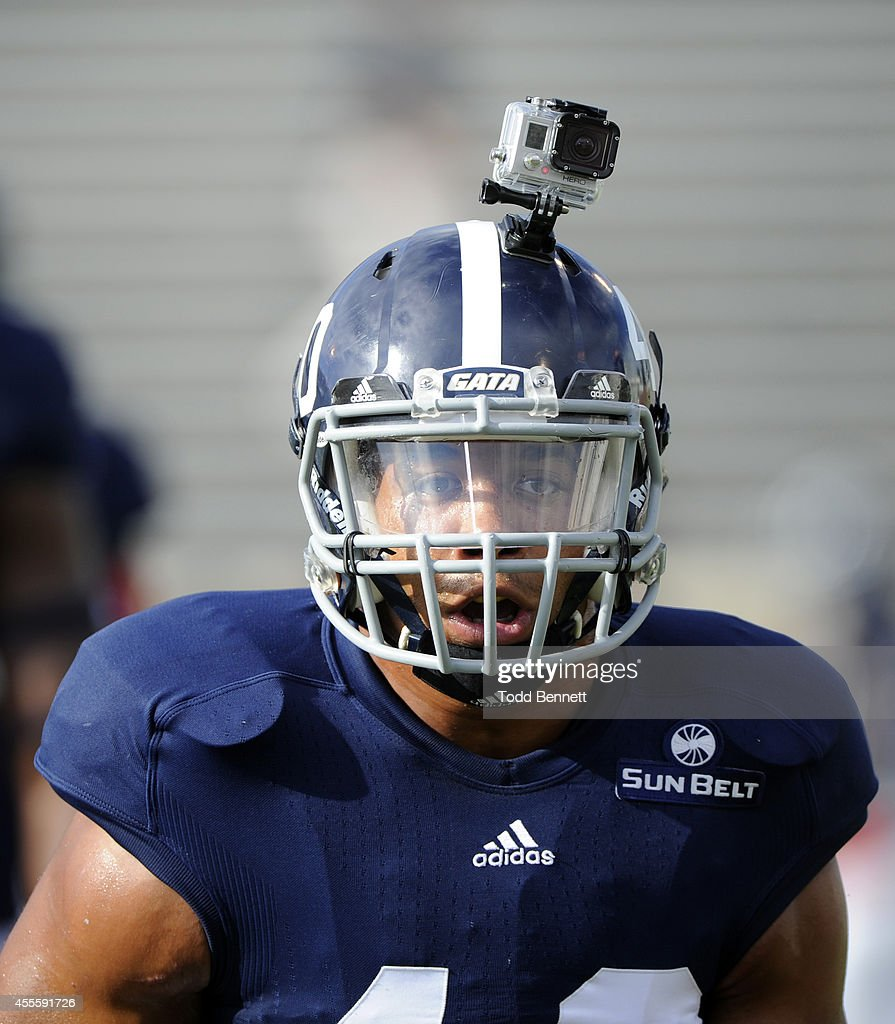 Linebacker Edwin Jackson of the Georgia Southern Eagles wears a GoPro during drills before the start of the game against the Savannah State Tigers on...